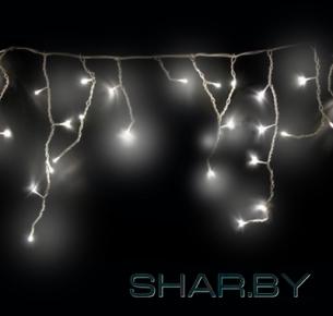 Гирлянда Айсикл (бахрома) светодиодная, 1,8х0,5 м, прозрачный провод, диоды тепло-белые