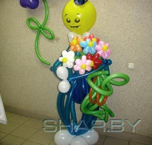 Синий человек с цветами